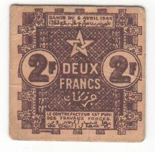 Morocco 2 Francs 1944 P-43 AU
