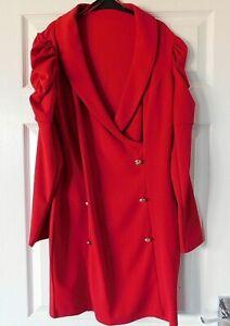 QUIZ Red Collar V Neck Long Sleeve Bodycon Dress Size UK 14 EUR 42