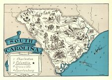 1930s Antique SOUTH CAROLINA State Map RARE Animated Picture Map BLU 7835