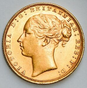 CHOICE 1872 Queen Victoria Young Head St. George Reverse Gold Sovereign
