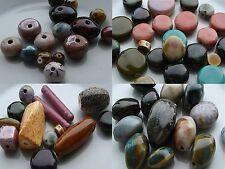 60g Porcelain Handmade Mixed Shape Beads.Flat Round, Round, Abacus, Ovals(BOX35)