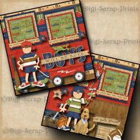 BOYS WILL BE BOYS ~ 2 premade scrapbook pages paper piecing layout boy DIGISCRAP