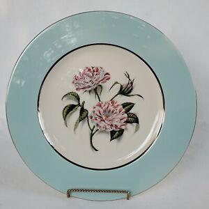 Nancy Prentiss ROSA MUNDI Dinner Plate FINE CHINA Aqua Teal Blue Floral 1962