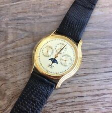 Vintage Timex Moon Phase Rare Mens 3 Subdial Calendar Watch-New Battery-Thin