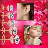 Multipurpose Ear Cartilage Clear Crystal Rose Gold Surgical Steel Stud Earrings