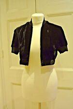Vintage GENNY Black Silk Mix Velvet, Cropped Bolero Style Top, Sz42 /uk 10