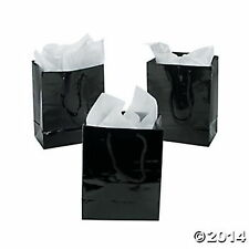 12 Small Black Gift Bags Gloosy Black Paper Gifts Bags with Rope Handles NEW