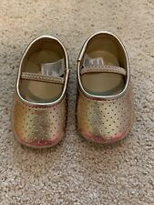 EUC Janie And Jack Rose Gold Baby Girl Crib Shoes, 0/3