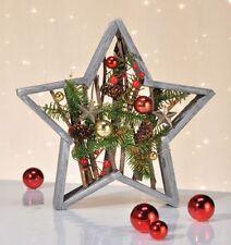 Stelle Stella di Legno Natale con Abete Sfere Lamponi Pigne Decorazione
