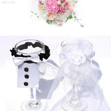 2PCS Wedding Bride Bridegroom Champagne Bottle Covers Glasses Wine Sets Pla