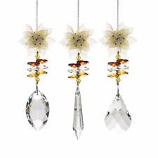 LONGWIN 3pcs Crystal Suncatcher White Plastic Flower Ornament Hanging Pendant