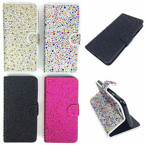 Diamante Jewel Bling Glitter Sparkly Leather Flip Wallet Case Cover For Phones