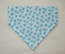 TURQUOISE PAW PRINTS ON BLUE DOG SCARF--MEDIUM