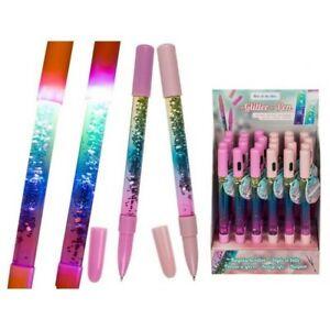 Novelty Led Light Up Glitter Pen Kids Children's Christmas Stocking Filler Gift