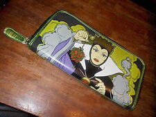"""Loungefly Disney Evil Queen zippered Wallet """"heartless"""" on back"""
