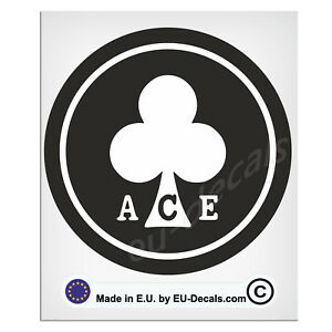 100mm-4'' Round ACE Black & White Laminated Decal Sticker classic cafe racer uk