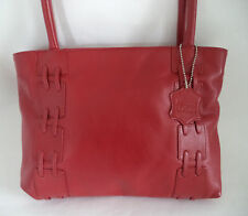RED LEATHER SHOULDER BAG HANDBAG DOUBLE STRAPS