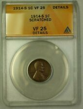 1914-S Lincoln Wheat Cent 1c ANACS VF-25 Details Scratched (WW)