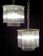 Pair GAETANO SCIOLARI for LIGHTOLIER Glass Rod PETITE CHANDELIERS