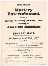 Fifth Annual Mystery Entertainment Flyer 1927 S.A.M Chicago