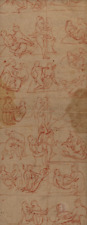 18th Century Indian Drawing Fragment Mounted On Paper Two Sided