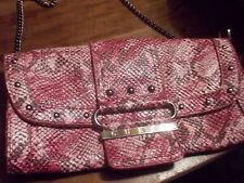 Guess Stylish pink pythion Clutch/Handbag w/chain handle