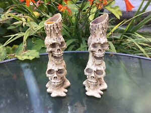 One Pair Of Spooky Halloween Stacked Skull Candle Holders