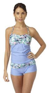 Hot Honi Tankini Set Blue Halterneck Swimwear Ajustable Straps 10-16 FREE P&P
