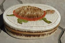 Canada First Nations Ojibway Large Porcupine Quill Birch Bark Basket Aboriginal