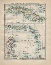 1902 MAP ~ CUBA LESSER ANTILLES & BRITISH HONDURAS CARIBBEAN SEA