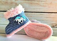 Hand Knitted Crochet Baby Booties Boots Slippers Unicorn Denim Pink Girls 0-12M