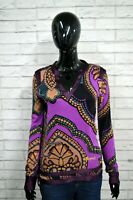 Maglia Donna DESIGUAL Taglia Size S Blusa Polo Manica Lunga Slim Viscosa Shirt