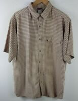 The North Face Mens Short Sleeved Shirt Large L Brown Plaid Button Up Outdoors