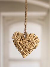 6 x Hanging Woven Heart Home Decor Gift Natural Wedding Decoration 10cms NEW