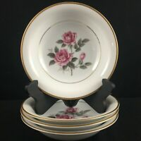Set of 4 VTG Coupe Soup Bowls Noritake Lindrose Pink Rose Floral 5234 Gold Japan