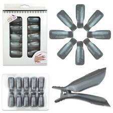1pk Bow Ribbon Style Silver Acrylic Nail Soak Off Finger Cap Clips Wrap Tool