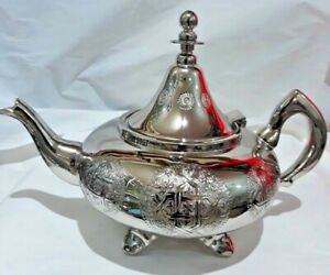 Moroccan Large Tea Pot Handmade Serving 12 Cups Brass Silver Plated Fes Morocco