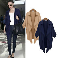 Women Open Front Cardigan Trench Coat Waterfall Duster Jacket Outwear Casual Top