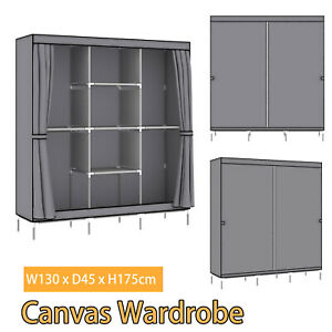 Portable Large Fabric Canvas Wardrobe Clothes Storage Rail Cover Cupboard Rail