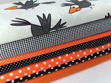 Stoffpaket / Öko-Tex 100 / Baumwolle Rabe orange  Stoffreste  7 x  25 x 45 cm