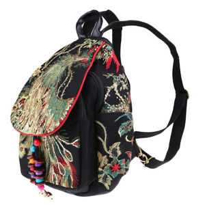 Peacock Embroidery Mini School Bag Rucksack Travel Bag Backpack Ethnic Black