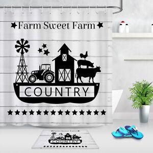 "Black and White Sweet Farm Animals Barn Waterproof Fabric Shower Curtain Set 72"""