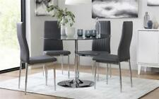 Orbit & Leon Round Glass & Chrome Dining Table And 4 Chairs Set (Grey)