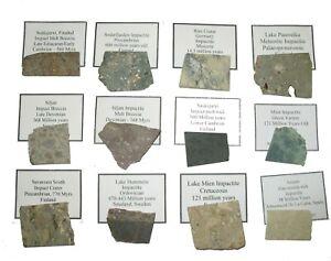 Meteorite impact crater impactite breccia suevite slice collection 12 specimens