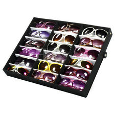 Very Beautiful 18 Pairs Sunglasses Display Storage Unit Stand Case Box Tray