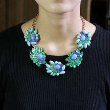 Necklace Tornade Green Crystal Navy Blue Oval Modern Original Marriage JCR 13