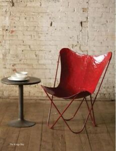 Red Painted Iron Butterfly Chair in Retro Aged Finish Hand Crafted Sold as Pairs