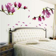 Vintage Mangnolia Flowers Removable Wall Sticker Decals PVC Vinyl Home Decor C