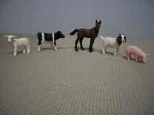 Lot of 5 Schleich Farm Animals Holstein Cow Pig Horse Sheep Figures Retired