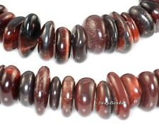 MAHOGANY RED TIGER EYE GEMSTONE RONDELLE RIVER PEBBLE 12X10MM LOOSE BEADS 8""